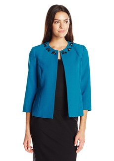 Kasper Women's Stretch Crepe Embellished Flyaway Jacket
