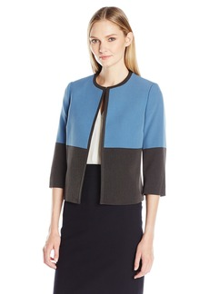 Kasper Women's Stretch Crepe Flyaway Color Block Jacket