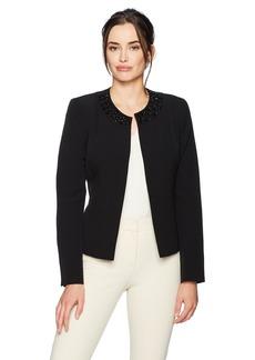 Kasper Women's Stretch Crepe Flyaway Jacket with Embellished Collar