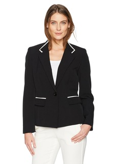 Kasper Women's Stretch Crepe Inverted Notch 1 Button Jacket with Pockets