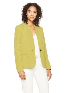 Kasper Women's Stretch Crepe Inverted Notch One Button Jacket