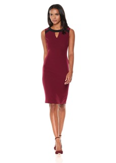 Kasper Women's Stretch Crepe Keyhole Dress with Contrast Detailing