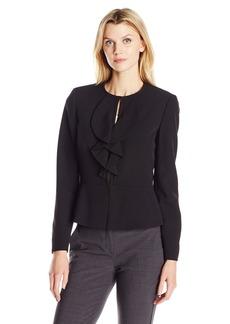 Kasper Women's Stretch Crepe Ruffle Front Jacket
