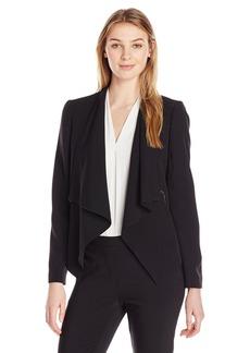Kasper Women's Stretch Crepe Solid Flyaway Jacket with Zipper Detail