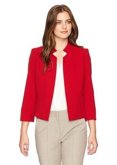 Kasper Women's Stretch Crepe Solid Mandarin Collar Jacket
