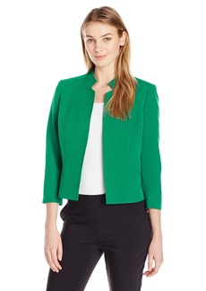 Kasper Women's Stretch Crepe Solid Mandarin Collar Jacket