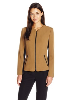 Kasper Women's Stretch Crepe Zipper Front Jacket