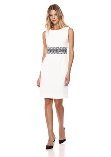Kasper Women's Stretch Weave Dress with Embroidered Waist Belt