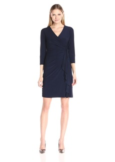Kasper Women's Three Quarter Sleeve Vneck Side Ruffle Dress