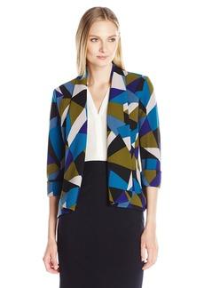 Kasper Women's Triangle Geometiric Printed Flyaway Jacket