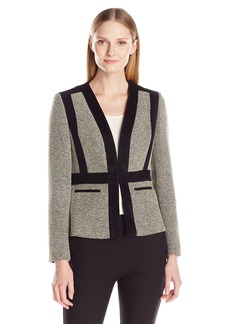 Kasper Women's Tweed Collarless Flyaway Jacket