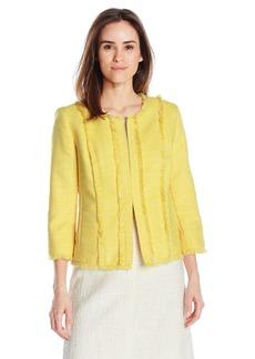 Kasper Women's Tweed Flyaway Jacket W/ Pocket Detailing