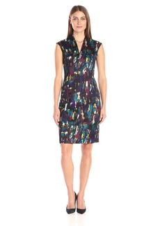 Kasper Women's Vneck Printed Scuba Dress