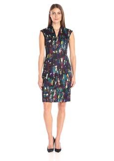 Kasper Women's Vneck Printed Scuba Dress
