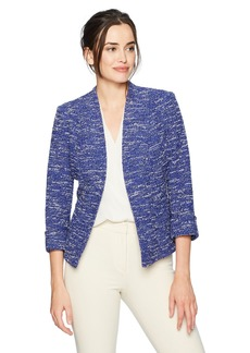 Kasper Women's Wide Lapel Knit Tweed Jacket