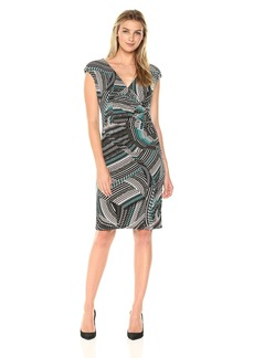 Kasper Women's Zig Zag Swirl Print Ity Dress  M