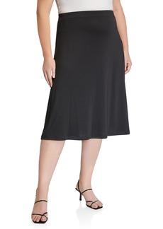 Kasper Plus Size Rib Knit Midi A-Line Skirt