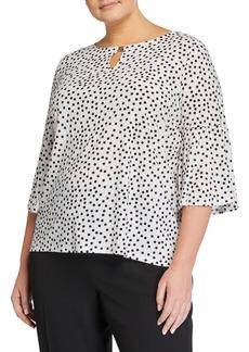 Kasper Plus Size Scatter Polka Dot Bell-Sleeve Top