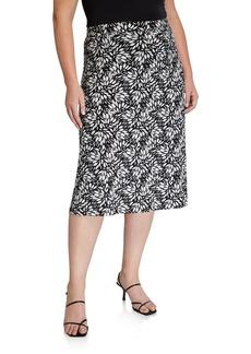 Kasper Plus Size Sunburst Printed Skirt