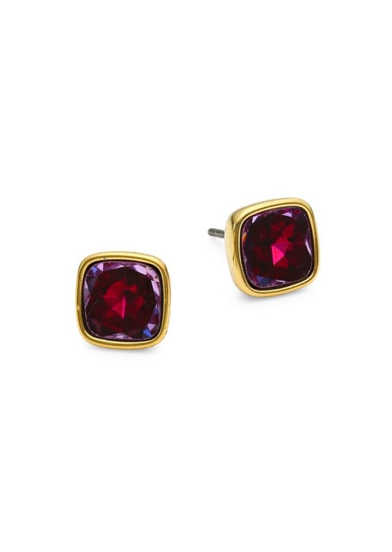 Kate Spade 12K Goldplated Cushion-Cut Small Stud Earrings