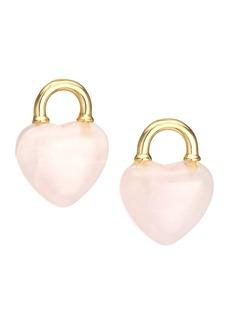 Kate Spade 12K Yellow Goldplated & Quartz Open Heart Stone Lock Stud Earrings