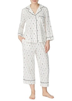 Kate Spade 2-Piece Printed Shirt & Cropped Pants Pajama Set