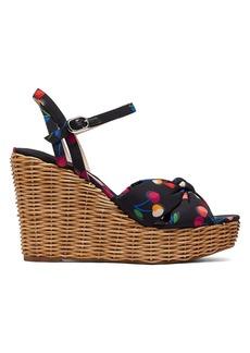 Kate Spade Anita Cherry-Print Satin & Raffia Wedge Sandals