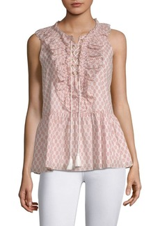 Kate Spade Arrow Stripe Lace-Up Cotton Top
