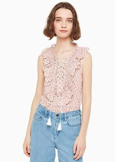 Kate Spade arrow stripe lace up top