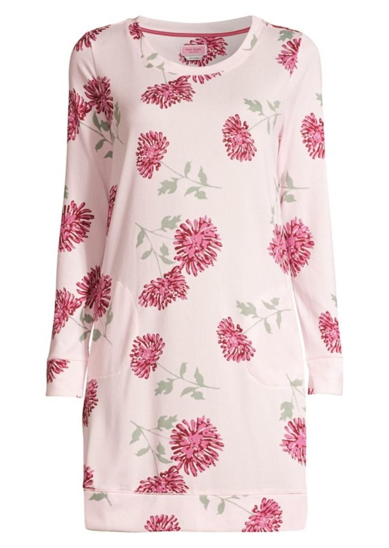 Kate Spade Blooming Print Brushed Sleepshirt