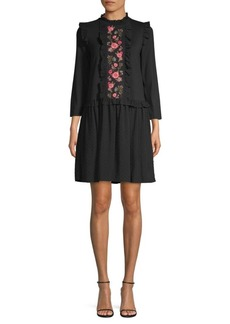 Kate Spade Broome Street Embroidered Mixed Media Dress