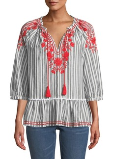 Kate Spade broome street embroidered striped top