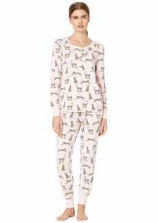 Kate Spade Brushed Jersey Jogger Long Pajama Set