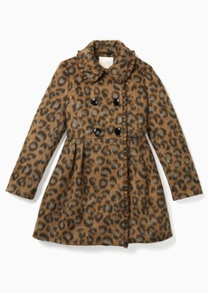 Kate Spade brushed leopard ruffle trim coat