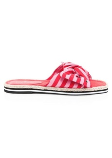 Kate Spade Caliana Striped Canvas Bow Slides