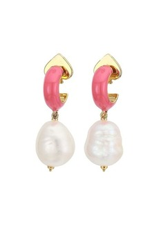 Kate Spade Candy Drops Enamel Pearl Drop Huggies Earrings