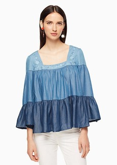 Kate Spade chambray embroidered top