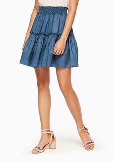 chambray smock waist skirt