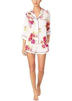 Kate Spade Charmeuse Notch Collar Shorts PJ Set