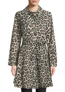 Kate Spade Cheetah-Print Belted Trench Coat