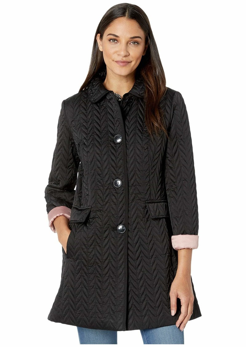 Kate Spade Chevron Quilted Piping Coat
