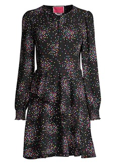 Kate Spade Confetti-Print Smocked Shirtdress