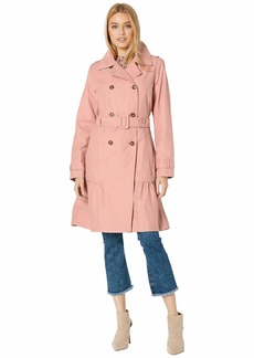 Kate Spade Cotton Blend Trench Coat with Waist Tie