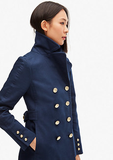 Kate Spade Cotton Classic Double-Breasted Peacoat