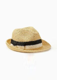 Kate Spade crochet black and white bow trilby