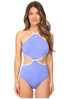 Kate Spade Cut Out High Neck Maillot