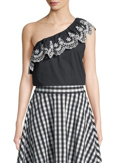 Kate Spade cutwork one-shoulder cotton top