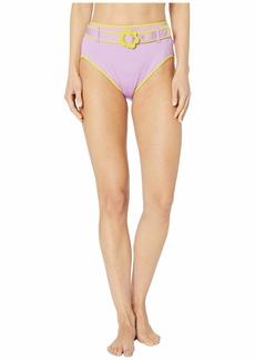 Kate Spade Daisy Buckle High-Waist Bikini Bottoms