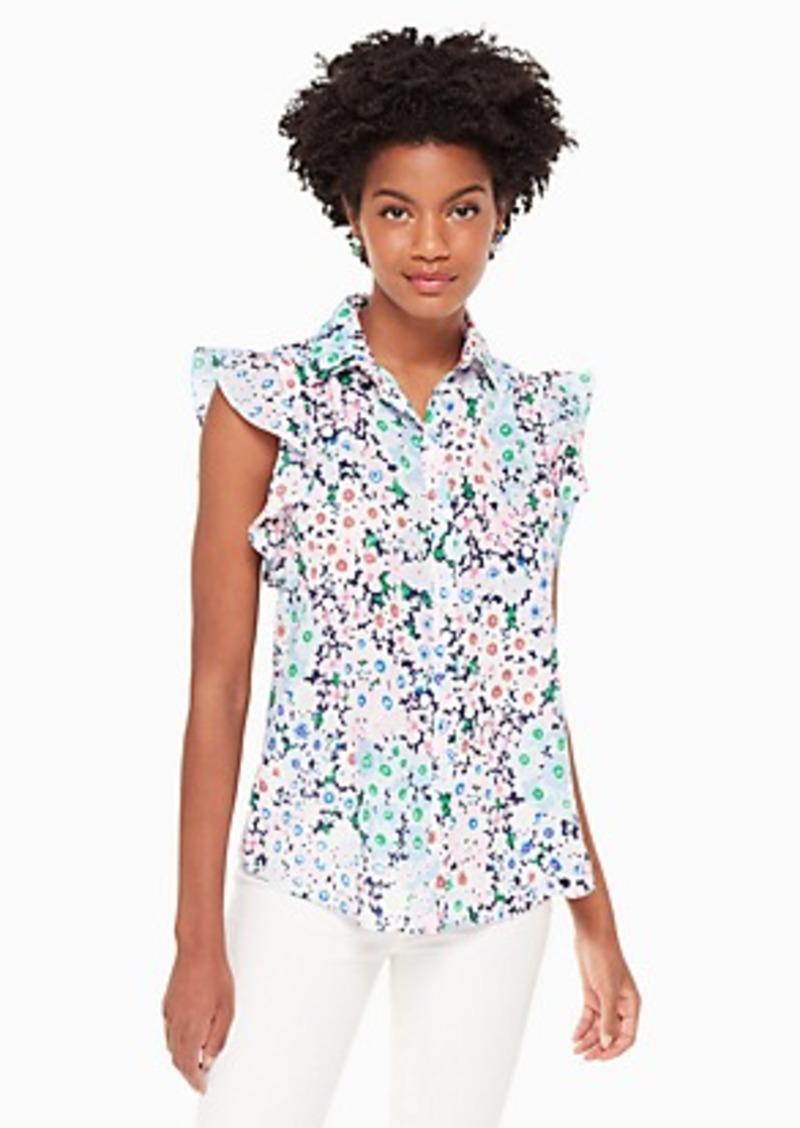Kate Spade daisy garden ruffle sleeve top