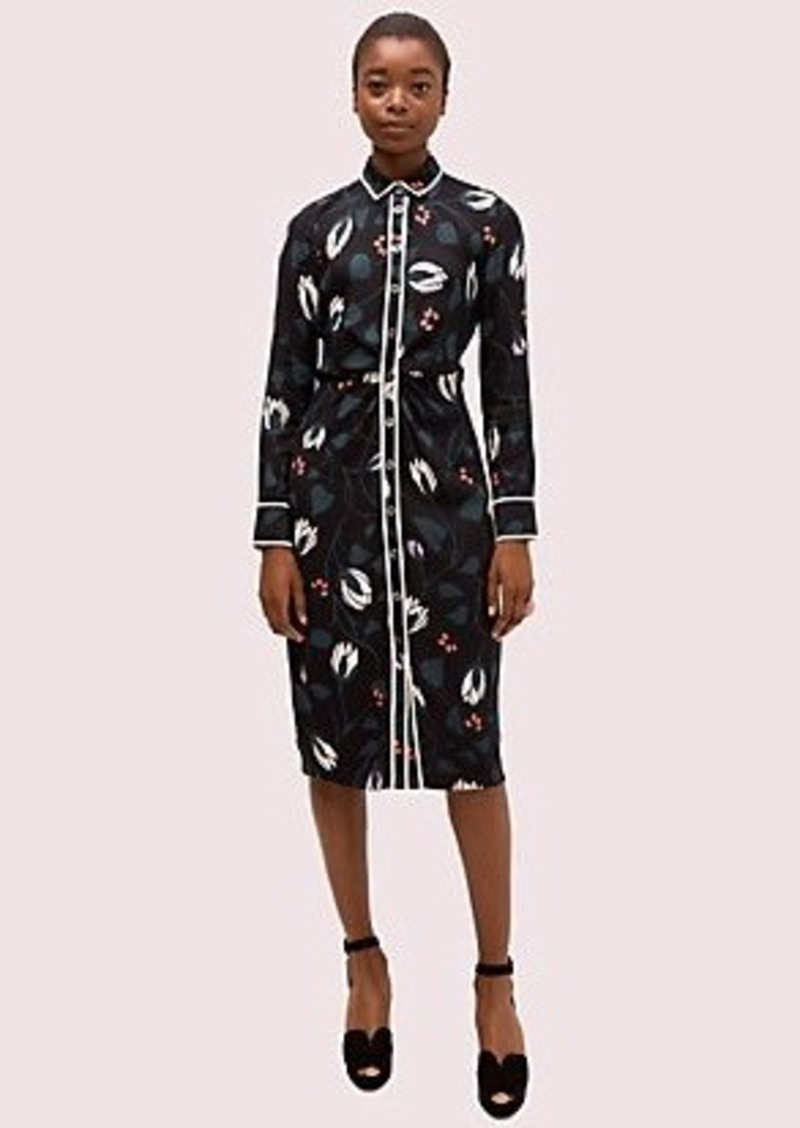 Kate Spade deco bloom crepe shirtdress